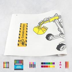 Zeichungen auf Rolle Baumaschinen