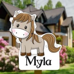 Geburtsschild Gartenmädchen   Pferd