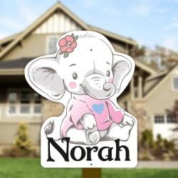 Geburtsschild Gartenmädchen   Elefant