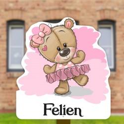 Geburtsschild Gartenmädchen   Teddybär im Tutu