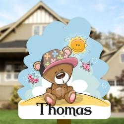 Geburtsschild Gartenjunge   Teddybär in der Sonne
