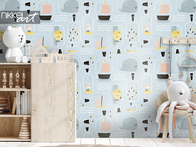 Tapete nahtloses Muster mit handgezeichnetem Seetopf