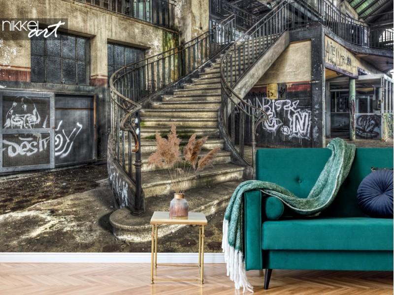 3x Charakteristische Fototapete mit alten verlassenen Gebäuden