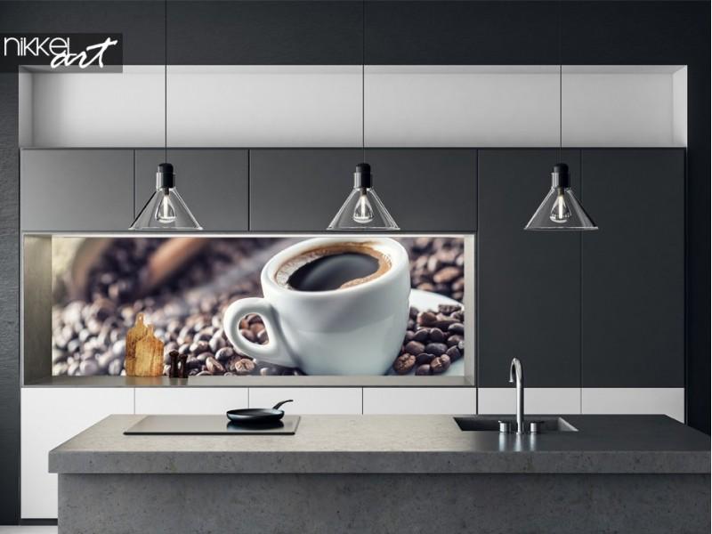Küchenrückwand mit Foto Kaffeebohnen