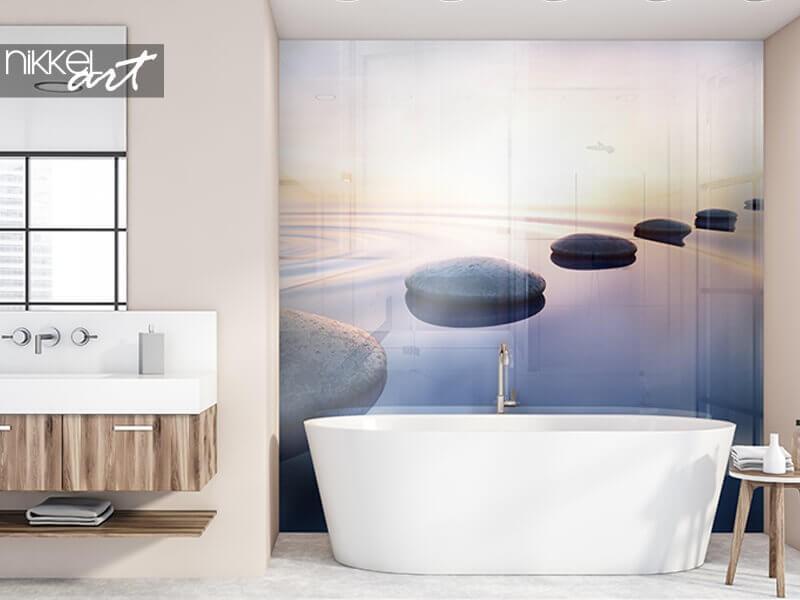 Ein Foto Rückwand   für zusätzliche Atmosphäre im Badezimmer