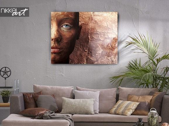 Bronzefarbiges Porträt auf Leinwand