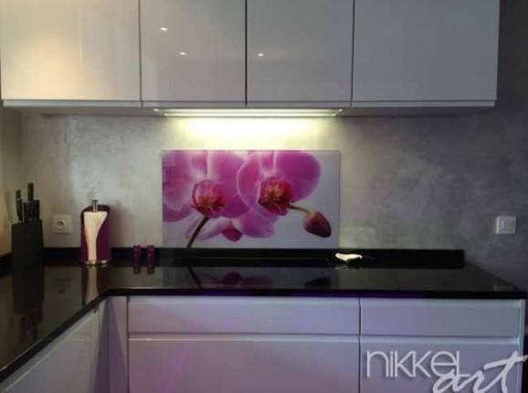 Küchenrückwand foto glas Orchideen