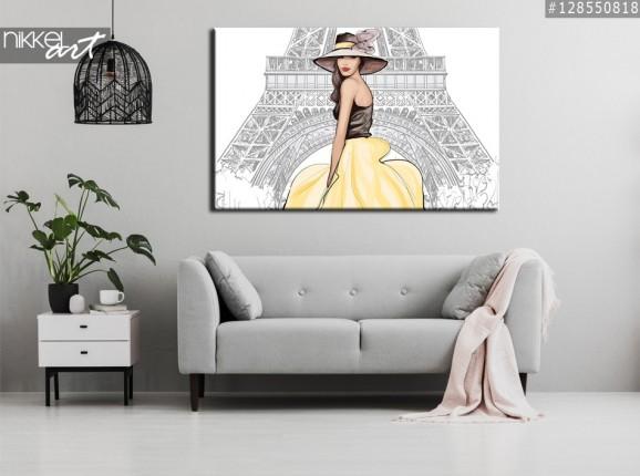 Foto auf Leinwand Junge glückliche Frau, die mit Blick auf den Eiffelturm