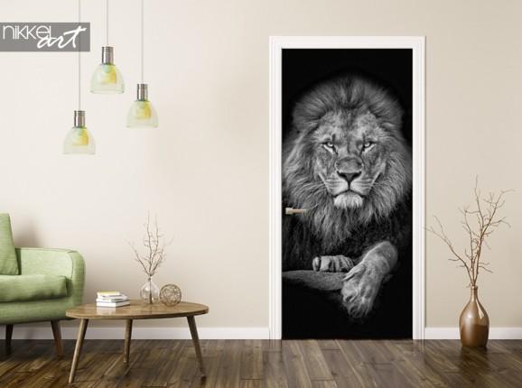 Türaufkleber mit Foto eines Löwen