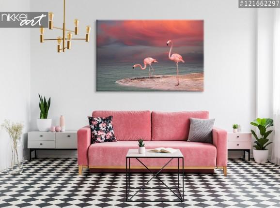 Foto auf Leinwand Rosa flamingos