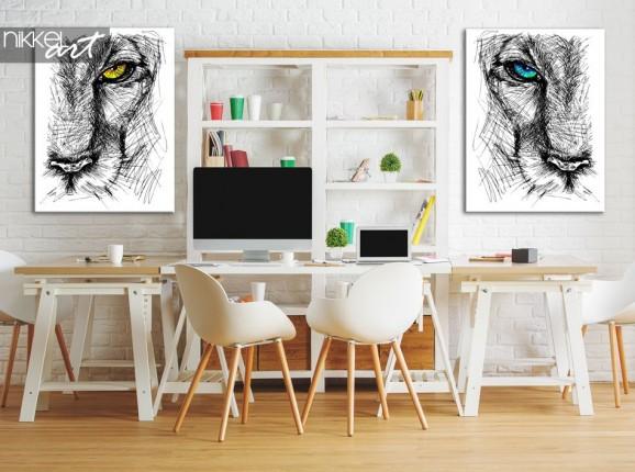 Foto auf Leinwand Hand gezeichnete Skizze eines Löwen