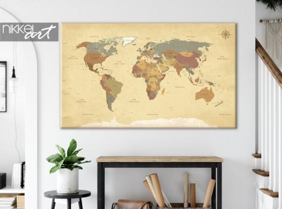 Weltkarte auf Leinwand