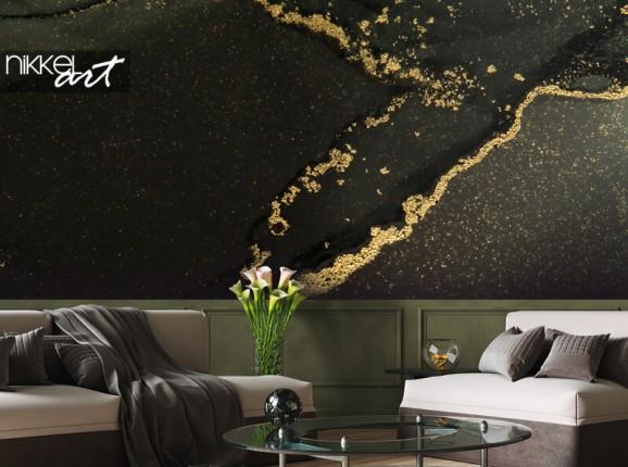 Fototapete schwarz-goldener Marmor