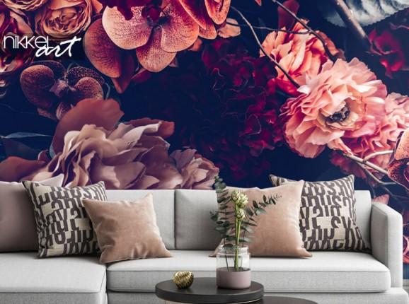 Vintage Blumen auf Fototapete