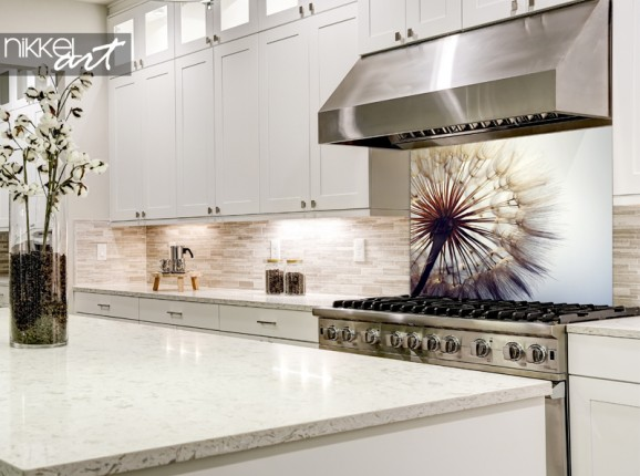 Glas-Küchenrückwand Pusteblume