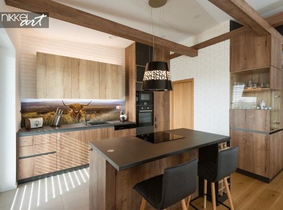 Glasküche Rückwand mit Foto Schottische Hochlandrind