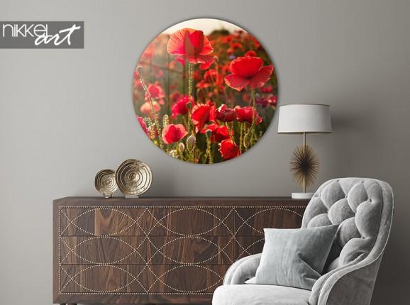 Acrylglaswand Kreis Mohnblumen