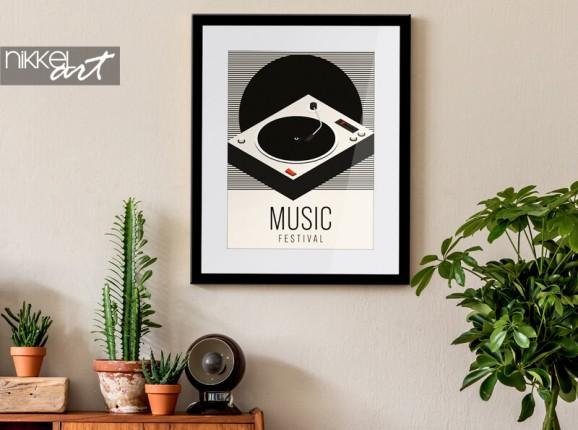 Poster im Rahmen mit Grammophon