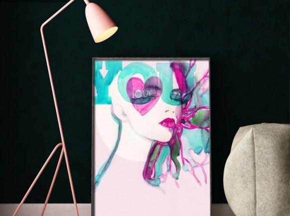 Poster Abstrakte illustrierte schöne Frau