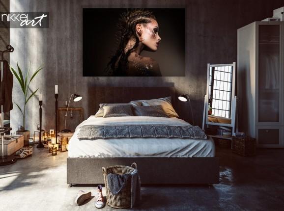 Schlafzimmer mit Foto Beauty Modell auf Alu-dibond