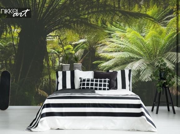Schlafzimmer mit Fototapete Dschungel