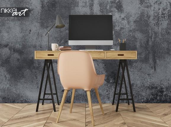Arbeitszimmer mit Fototapete Beton
