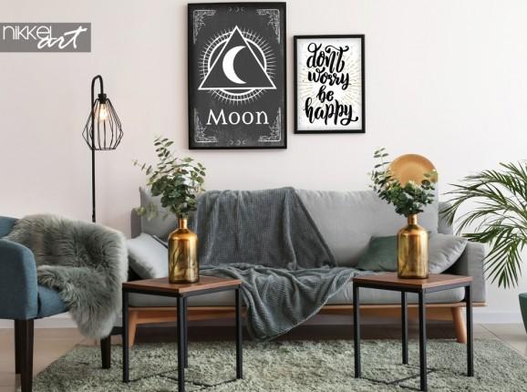 Wohnzimmer mit Plakat Retro Zeichen