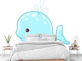 Blue Whale Vector flat Illustration. Cute cartoon character. Sea creature