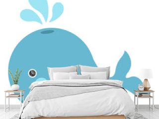 cute character blue whale illustration for children's books magazine posters banners