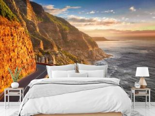 road,coast,cliff,sunset,mountains,south atlantic,landscape,sea,ocean,vacations,water,summer,tourism,sky,south cape,rock,clouds,twilight,evening,south africa,