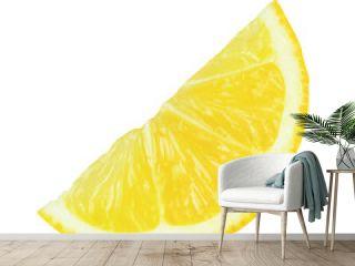 One slice lemon isolated on white background.