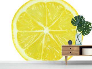 Juicy yellow slice of lemon on white background
