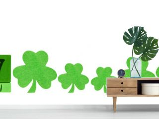 Saint Patrick Day. A calendar with green clovers isoleted on white background