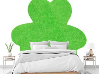 A green paper clover isoleted on white background