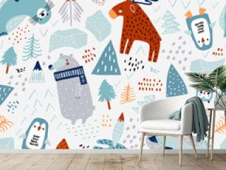 Childish seamless nordic pattern. Creative hand drawn north pole background. Vector background for fabric, textile, apparel, wallpaper.