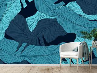 Luxury nature green background vector. Floral pattern, Banana leaf, Tropical plant line arts, Vector illustration.