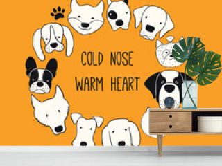 Cute funny different dog, puppy faces round frame, quote Cold nose warm heart. Hand drawn black and white vector illustration, isolated. Line art. Design concept for pet poster, t-shirt, fashion print