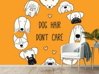 Cute funny different puppy faces round frame, quote Dog hair dont care. Hand drawn black and white vector illustration, isolated on orange. Line art. Design concept pet poster, t-shirt, fashion print.