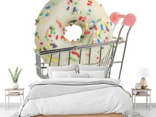 White donat in a shopping cart isolated on white background