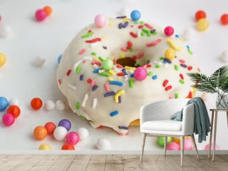 Delicious donut with icing and colorful decoration