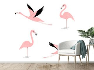 Cartoon flamingo icon set. Cute bird in different poses. Illustration for prints, clothing, packaging, stickers.