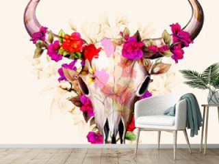 Vintage illustration of bull skull with flowers amaryllis and leaves around. Hand drawn, vector - stock.