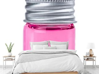 Glass pharmacy bottle with pink liquid isolated on white background.