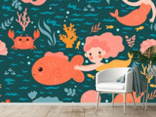Seamless pattern with cute mermaids. Vector graphics.