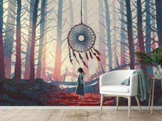 woman standing and looking at the dreamcatcher hanging from the trees in the mysterious forest, digital art style, illustration painting