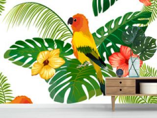 Pattern with parrots and leaves.Bright parrot, flowers and palm leaves in a seamless pattern.