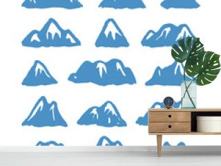 Hand Drawn Paint Mountain Isolated. Vector Illustration Ski Resort Logo. Drawing Camping Element Winter Landscape