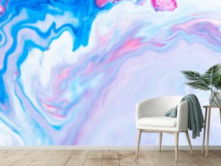 Fluid art. Abstract lilac pink background. Liquid marble texture design. Blue pink pattern Blue-pink pattern with liquid material