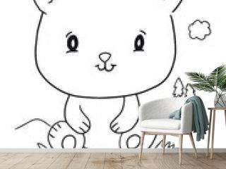 Cute Panda Bear Cub Coloring Book Page Vector Illustration Art