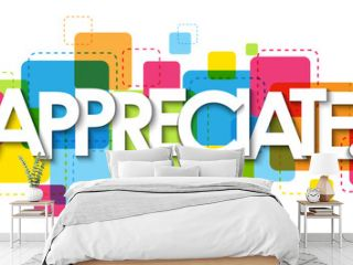 APPRECIATE. colorful vector typography banner isolated on white background
